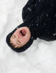 Luke Potts, 6, of Kirkwood, Mo., drops into the snow and opens his mouth hoping to catch a snowflake Tuesday afternoon on an outing with his family. A new study shows snow contains large amounts of bacteria, though it's fairly harmless.