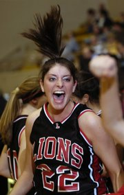 LHS sophomore Shelby Miller reacts to play in the second half of the Lions' 59-48 victory over Blue Valley. LHS rallied for the win Wednesday in Emporia.