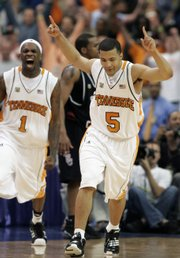 Tennessee's Chris Lofton (5) and Tyler Smith celebrate a goal in their SEC tournament victory over South Carolina.