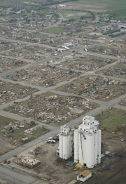 The City of Greensburg was obliterated by a tornado that struck May 4, 2007. Eleven people died, and more than 95 percent of the town's homes and businesses were destroyed. Reconstruction efforts have largely progressed, and in February the city began rebuilding its water tower.