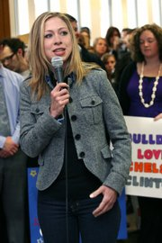 "Chelsea Clinton, 28, speaks with Butler University students in Atherton Student Union in support of her mother, Democratic presidential hopeful Sen. Hillary Rodham Clinton, D-N.Y. A student who asked Tuesday how the Monica Lewinsky affair had affected Hillary Clinton was shot down by Chelsea: ""I do not think that is any of your business."""