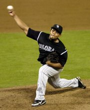 Colorado pitcher Ramon Ramirez delivers in a 2006 game in Washington. The Kansas City Royals on Wednesday acquired Ramirez in a trade.