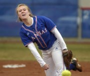 Junior Valerie George lets loose a pitch Wednesday, March 26, 2008 during the Jayhawks' home softball game against Missouri State.