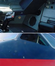 These photos show a purported bullet hole in a US Airways aircraft. In the top photo a suspected bullet hole is shown in the left third of the photo. At bottom the suspected bullet hole is shown in the bottom center of the photograph. A gunshot fired from a pistol belonging to the pilot of a US Airways flight blasted a small hole through the plane's cockpit wall on Saturday.