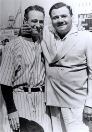 "Lou Gehrig and Babe Ruth share a moment the day in 1939 that Gehrig gave his ""luckiest man"" speech."