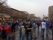 KU fans swarm Mass St. in celebration of the Jayhawks' Final Four trip.