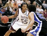 Texas A&M's Danielle Gant looks for an opening against Duke's Wanisha Smith. A&M eliminated Duke, 77-63, Sunday in Oklahoma City.