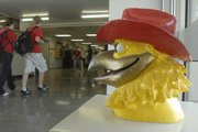 A Jayhawk guards the halls of Jayhawk-Linn High School in Mound City. Across the country, about nine schools have a Jayhawk as a mascot; Lawrence and Mound City have the only ones in Kansas.
