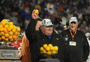 KU football coach Mark Mangino celebrates after the Jayhawks won the Orange Bowl on Jan. 3.