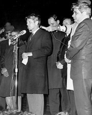 Robert F. Kennedy is shown in this April 4, 1968, file photo informing an audience in Indianapolis that Martin Luther King Jr. had been assassinated. Kennedy's message was credited with helping keep the Indianapolis calm while many cities across the nation erupted into violence.