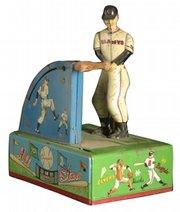 This Giants ballplayer should be able to hit a baseball when the tin toy is turned on. But parts are missing, and the $390 toy doesn't work. It was sold recently by Cowan's Auctions in Cincinnati.