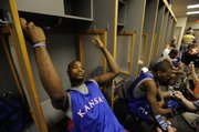 Former Kansas University basketball player Darnell Jackson relaxes in the locker room the day before Kansas took the court against Memphis for the NCAA title in April 2008 in San Antonio.
