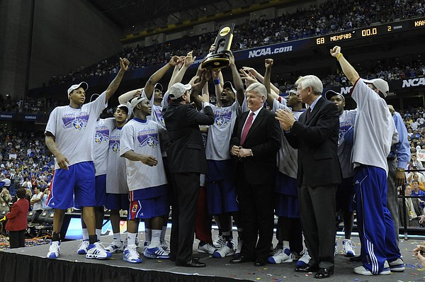 Kansas celebrates their national title against Memphis on Monday, April 7, 2008 at the Alamodome in San Antonio, Texas.