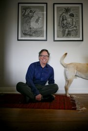 "Jack Handey, author of the comedic ""What I&squot;d Say to the Martians and Other Veiled Threats,"" joins his dog, Ruby, at his home in Santa Fe, N.M."