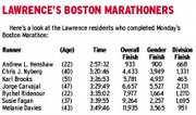Here's a look at the Lawrence residents who completed Monday's Boston Marathon.