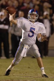 Kansas quarterback Todd Reesing slings a pass against Texas A&M in this Oct. 27, 2007 file photo in College Station, Texas. Reesing will lead KU into battle Aug. 30 against Florida International to start the year.