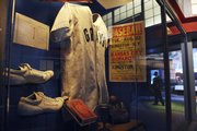 A case with Negro Leagues memorabilia.