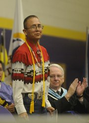 Haskell Student of the Year Elliot Bryant gave the commencement address on Friday.