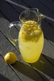 This Old-Fashioned Lemonade is made with a simple syrup that can be kept in the refrigerator for use for up to a month. See the recipe on this page.