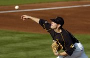 Missouri pitcher Aaron Crow delivers a pitch against KU on May 9 at Hoglund Ballpark. Crow, who's 11-0 this season, should make the Tigers a tough out in the Big 12 tournament.