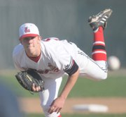 Lawrence High pitcher Tom Schuh will take the mound for the Lions at 2 p.m. today in Topeka, as LHS opens city regional baseball action against Manhattan High.
