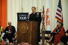 Michael Nolte was the keynote speaker at Baker University&#39;s commencement Sunday. He urged the graduates to share their &quot;toolbox of talents&quot; with others.