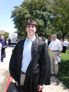 Jesse Montgomery, 22, seen here May May 17 at commencement in Dallas, graduated from Southern Methodist University December 2007 with a major in anthropology. After graduation he will be working in Denver at Echostar in interactive television programming.  Jesse's family lives in Eudora.