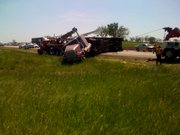 A semitrailer rolled over this morning 10 miles east of Lawrence on the Kansas Turnpike. The accident occurred in the westbound lanes of the highway, backing up traffic for nearly four miles.