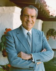 "Richard Nixon is depicted as a brilliant tactician who ""exploited the country&squot;s hates and fears in the service of consolidating his own political base"" in author Rick Perlstein&squot;s new book, ""Nixonland."""