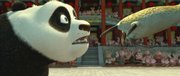 "Po (voiced by Jack Black) takes on a fearsome adversary in the animated comedy ""Kung Fu Panda."""