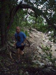 Greg Burger, Lecompton, test-runs the PodTrod MP3-Mile Challenge course.