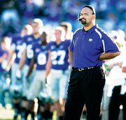 Kansas State coach Ron Prince watches the final moments of K-State&#39;s game against Missouri last year in Manhattan. After a 5-7 season in 2007, Prince loaded up on junior-college transfers - 19 new ones to be exact. The Wildcats&#39; 29 roster spots held down by jucos are by far the most in the Big 12.