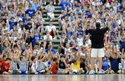 Bill Self watches a show of hands after asking his campers if they thought KU had a good team this last season. Self answered questions from the campers and talked about what he looks for when he prepares to recruit a player Tuesday, June 17, 2008 at the Horejsi Center.