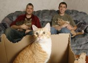 Paul Klusman, left, holds his cat Zoey, and T.J. Wingard holds Ginger, in March in Wichita. In the foreground is Oscar. A video that Klusman and Wingard made about Klusman's cats includes footage of the cats yodeling and has had more than two million views on YouTube.