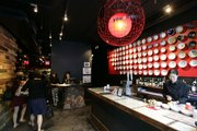 Inside a Japanese ramen noodle brasserie in New York.