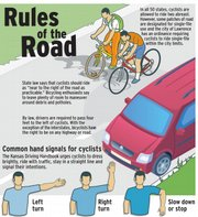 Here's an illustration we ran in July 2008 to help remind bicyclists and drivers the rules of the road when it comes to biking.