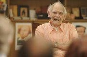 Author Frederik Pohl, 88, participated in a science fiction reading at Oread Books in the Kansas Union as part of the 2008 Campbell Conference on Science Fiction at KU.