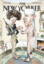 New Yorker magazine's July 21 cover satirically depicts presidential candidate Barack Obama dressed as a Muslim and his wife, Michelle, as a terrorist.