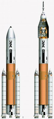 This rendering released by Direct Launcher shows a rocket design that advocates say is a better alternative for returning to the moon than the Ares rockets being built by NASA. The Jupiter 232 rocket on the left would be used for cargo launches, while the version of the right could launch both cargo and astronauts. NASA engineers are among those working on the competing design.