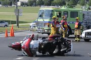 A motorcycle rider was killed Tuesday afternoon about 4:30 p.m. at 23rd and Iowa streets. The cyclist, who was wearing a helmet was struck by a semi-truck as he tried to make a turn.