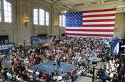 Seats for 900 people quickly filled for a town hall-style meeting organized by Republican presidential candidate John McCain at Union Station in downtown Kansas City, Mo., on Thursday.