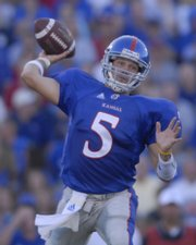 Kansas quarterback Todd Reesing backs out to pass during the first half against Central Michigan at Memorial Stadium in the Sept. 1, 2007, file photo. Reesing is a member of a special quarterback class in the Big 12 Conference this season.