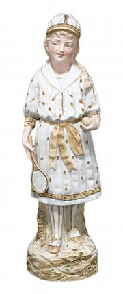 This 14 1/2-inch figurine of a female tennis player, made in Germany during the 1880s, recently sold for $375.