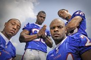 Kansas secondary players, from left, Chris Harris, Darrell Stuckey, Kendrick Harper and Justin Thornton are all returning members to the defensive backfield that helped the Jayhawks finish the 2007 season ranked 12th in total defense.