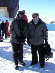 Kansas University Chancellor Robert Hemenway, right, and KU School of Engineering Dean Stuart Bell visit the North Greenland Eemian Ice Drilling Site.