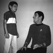"Adam Nimoy, left, jokes with his father, Leonard Nimoy, on the set of ""Star Trek"" in the late 1960s."
