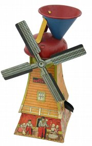 This sand-powered 1930s tin windmill toy is 14 1/2 inches high. It sold for $250 at Stanton Auctions of Hampden, Mass.