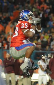 KU safety Darrell Stuckey leaps in this Jan. 3 file photo as he celebrates the Jayhawks' blocked field goal in the Orange Bowl against Virginia Tech at Dolphin Stadium. Stuckey is expected to lead an experienced KU secondary this season.