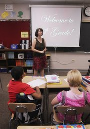 Prairie Park Elementary school's first day found 5th grade teacher Ivy Briggs getting students ready for their first day of class.
