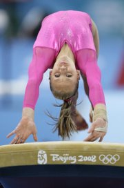 Nastia Liukin performs on the vault during the women's individual all-around competition. Liukin won the gold early today in Beijing.